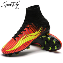 Speedfly Men Football Boots FG Kids Soccer Shoes High Ankle Superfly Original Total Crimson Cheap Cleats Athletic Trainer Boots(China)