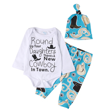 Autumn Baby Boys Clothes Toddler Newborn Baby Boys Girls Cowboy Romper+Pants Clothes 3pcs Outfits Set NEW(China)