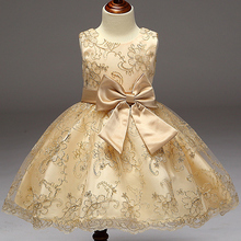 2017 Baby Girls Infant Embroidery Dress kids Gold Wedding Toddler High-end Dress Flower Vestidos tutu Formal Party Dress girls(China)