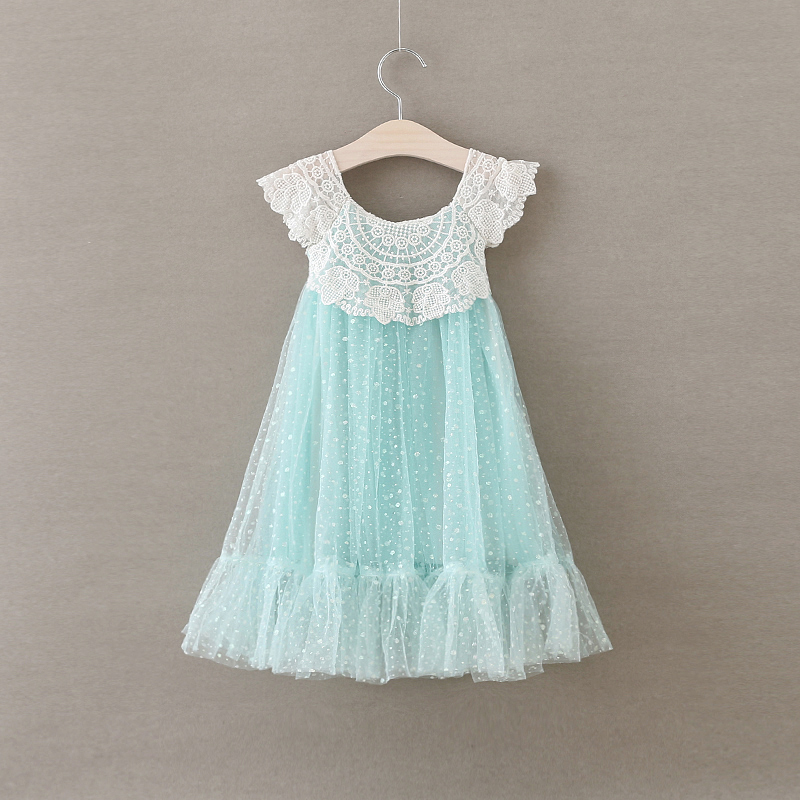 New Baby Girls Fairy Lace Dot Summer Dresses, Princess Kids Fashion Party Clothes 5 pcs/lot,Wholesale