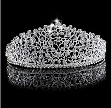 Luxury Sparkling Silver Wedding Diamante Pageant Tiaras Hairband Crystal Bridal Crowns For Brides Hair Jewelry Headpiece Jewelry