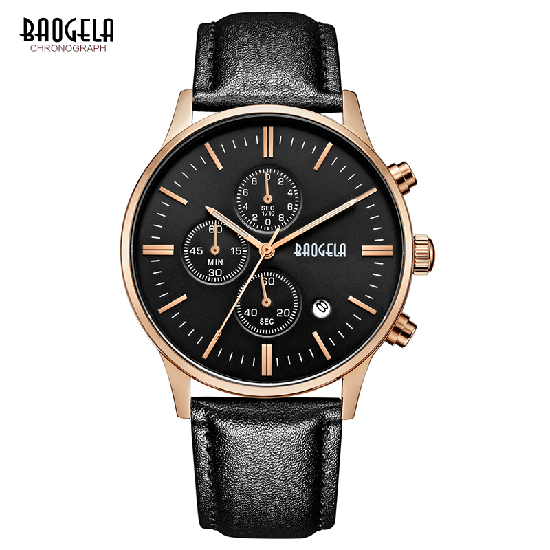 BAOGELA New Relogio Fashion Quartz Watch Man Black Leather Watches Christmas Gifts Men Chronograph Wristwatch For Male<br>