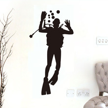 DCTOP Big Size Diver Glass Wall Decal Bathroom Door Decorative Diy Removable Waterproof Wall Sticker For Kids Room Accessories