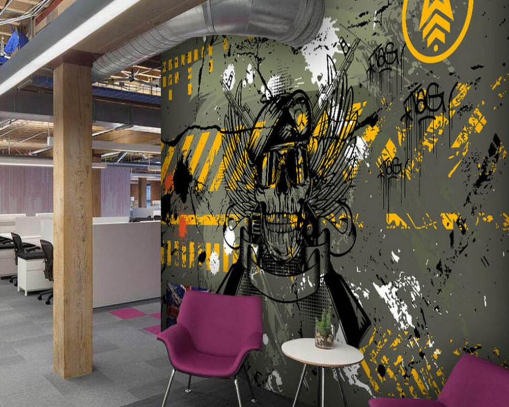 Custom graffiti wallpaper,street camouflage army green theme mural for living room hotel KTV background wall papel de pared<br>