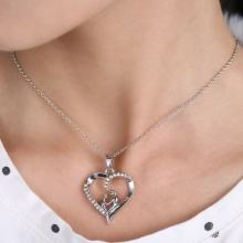 1 pcs Lovely High Quality Mother's Day Gift Crystal Mom and Baby Love Heart Pendant Chain Necklace(China)