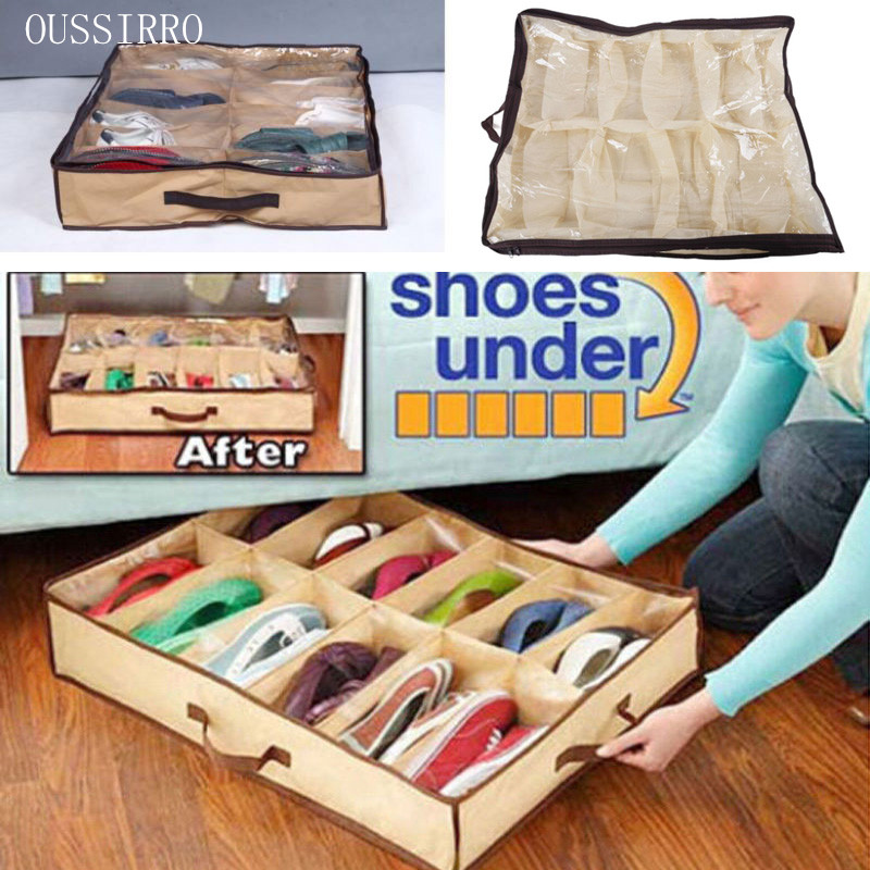 OUSSIRRO New 2016 Shoe Box 12 Pocket Under Bed Foldable Shoe Container Storage Organizer Holder(China (Mainland))
