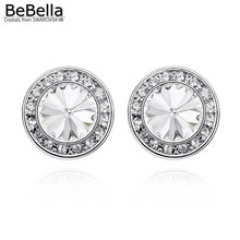 BeBella original crystals from Swarovski round crystal stud earrings in 6 colors for women gift bride wedding jewelry(China)