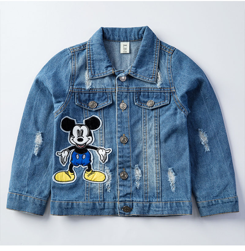19 Mickey Denim Jacket For Boys Fashion Coats Children Clothing Autumn Baby Girls Clothes Outerwear Cartoon Jean Jackets Coat 9