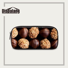 Dispalang Portable Zipper Pencil Case Chocolate Print Pen Stationery Bag Fashion Make Up Cosmetic Bag School Office Supplies(China)