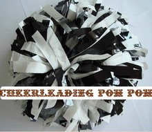 "cheerleader Pom poms 6""~custom color handmade new hot sale metallic black plastic white(China)"