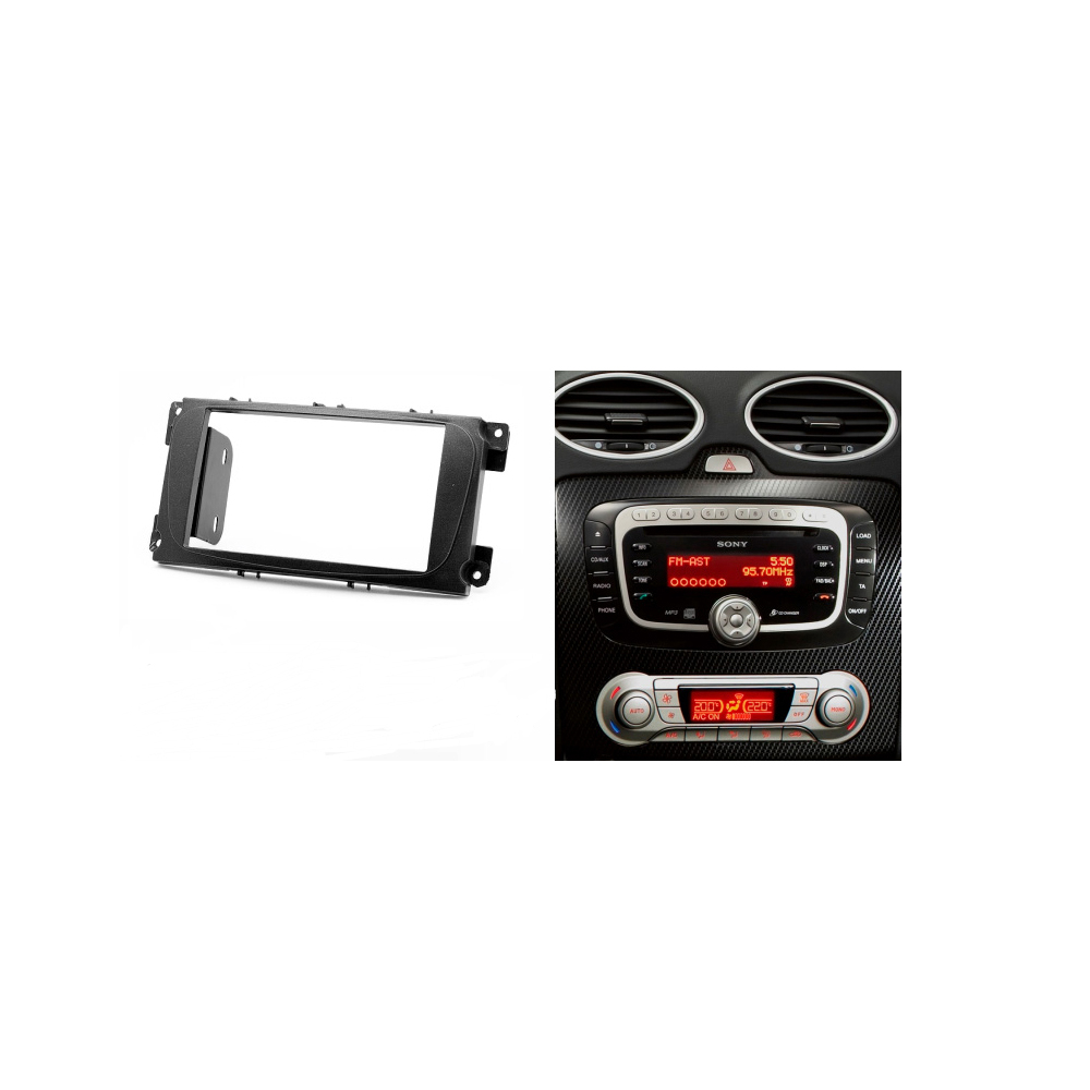 Double din car radio fascia for ford focus ii mondeo kuga stereo dash kit fit installation trim