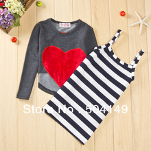 Free shipping Wholesaler Spring Autumn dresses suits girls clothing sets two-piece children clothes wearing 5sets/lot(China)