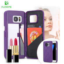 FLOVEME Hard PC Makeup Mirror Flip Phone Case Capa For iPhone 7 7 Plus 6 6S Plus For Samsung Galaxy S7 S7 Edge Card Holder Cover