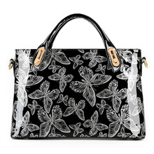 Factory Outlet Butterfly Patent Leather Shoulder Vintage Handbag Hard Messenger Women Bag Designer Handbags  WB336
