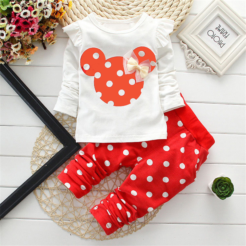 New Girls spring clothes sets, princess bowtie cartoon mouse T-shirt pants children polka Dot design cotton 3 colors(China)