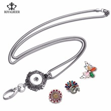 Multi Options Working ID Holder Lanyard Snap Pendant Necklace 18mm Snap Button Jewelry Snaps Necklace For Snap Jewelry(China)