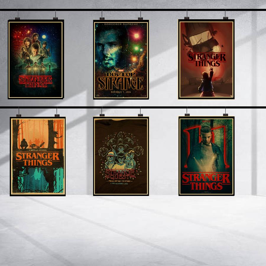 Vintage stranger things 1 retro posters home decor kraft  classic wall paper high quality painting
