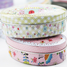 Beauty Picture Tin Box Girl Mac Makeup Organizer Lipstick Box Soap Candy Pill Case 6Piece Oval Metal Container For Tea Jewely