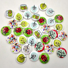 50pcs 2 Holes Mixed Craft DIY Colorful Rural System Wooden Cat Buttons Printing Buttons(China)