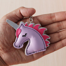 Unicorn Keychain Leather Key Chain Metal Ring Cover Holder Handbag Shoulder Bag Charms Love Horse Toy Trinket Chaveiro Llaveros