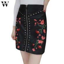 Buy Womail PU Leather Skirt Fashion Flower Embroidery Zipper Skirts Rivet Design Faldas European Style Streetwear Mini Skirts Dec4 for $13.40 in AliExpress store