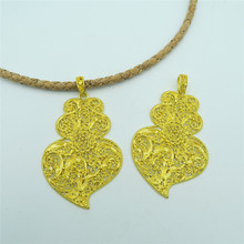 5 units Golden viana heart pendant original PORTUGUESE statement Necklace pendant jewelry finding suppliers D-3-86(Portugal)