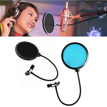 High Quality New Gooseneck Shied Pop Filter Double Layer Studio Microphone Mic Wind Screen Mask