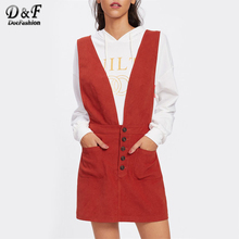 Dotfashion Crisscross Back Plunge Pinafore Dress 2017 Orange Deep V Neck Pinafore A Line Dress Women Sleeveless Mini Dress(China)