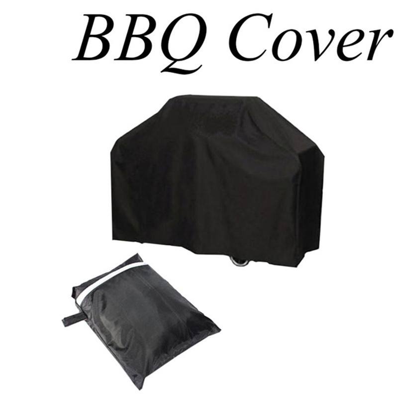 1Pc 100% High Quality Black Waterproof BBQ Cover Outdoor Rain Barbecue Grill Protector For Gas Charcoal Electric Barbeque Grill(China (Mainland))