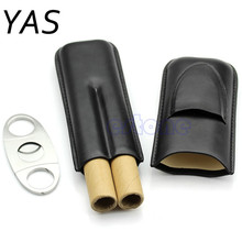 YAS Black Leather Cigar Humidor Cigar Case Holder Hold 2 Cigars With Cutter Set Hot HXP001(China)
