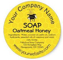 1.5inch Honey Bee Honeycomb Custom Soap Label Stickers