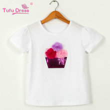 Sequins Kids Girls T Shirt Short Sleeve Children Tops Tee Girl Summer Spring Top Clothes Clothing(China)