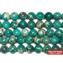 "Free Shipping 15"" Natural Stone Green Sea Sediment Turquoises Imperial Jaspers Round Loose Beads 6 8 10 12MM Pick Size(China)"