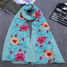90*180CM Ladies women long big size embroidered hijab scarves floral viscose shawl ethnic japanese Bandana top quality