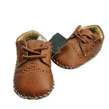 Baby Girls Boy PU Leather Crib Shoes Kids Soft Sole Loafers Toddler Shoes for 0-12M baby(China)