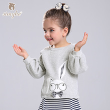 Simyke Girls Cartoon Top Long Sleeve 2017 Autumn Children's Rabbit Pattern Sweatshirt Casual T-shirts For Toddler Cloth W3389(China)
