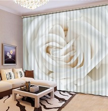 European and American Style 3d curtain bathroom curtains blackout photos white flower curtains livingroom curtains