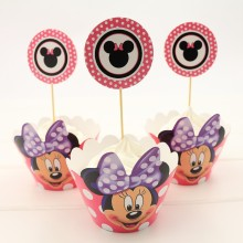 24pcs/set Minnie Mouse Cupcake Wrappers and Toppers for Kids Birthday Decoration Favors Baby Shower Toppers Picks Party Supplies