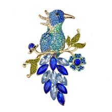 Blue Collection Crystal Rhinestone Bird Brooch Animal Unisex Fashion Jewelry 2016