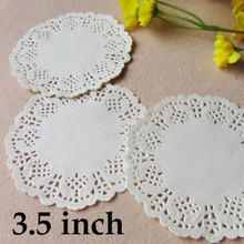 "100 Pcs 3.5""=88mm White Round Lace Paper Doilies / Doyleys,Vintage Coasters / Placemat Craft Wedding Christmas Table Decoration(China)"