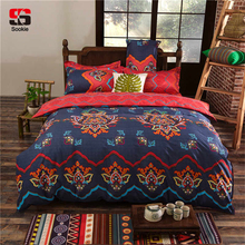 Sookie Bohemian Bedding Sets 6 Pieces-1 Flat Sheet, 1 Duvet Cover and 4 Pillowcases-Boho Folk Custom Bed Set for Russian(China)