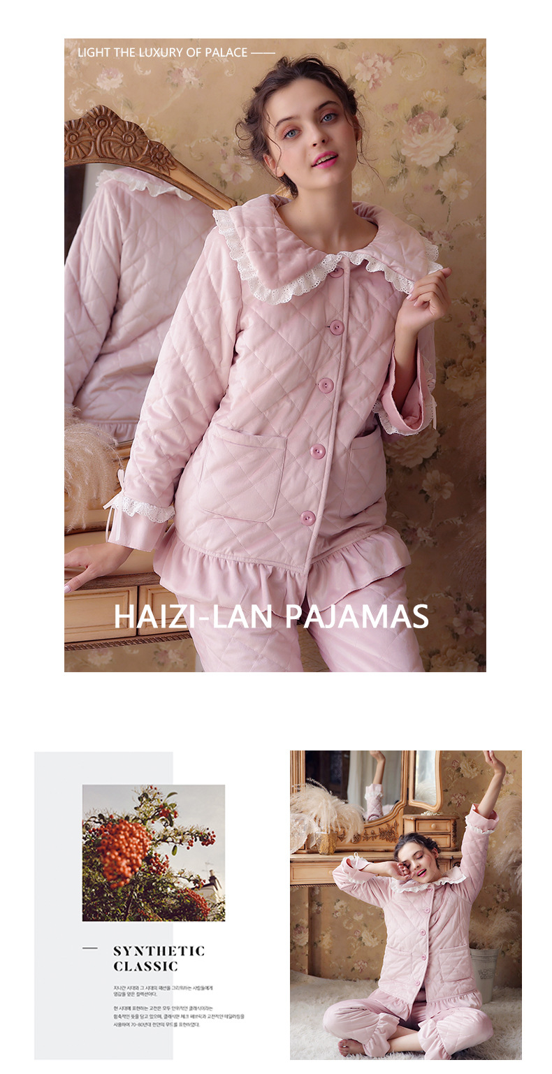 Autumn Winter New Ladies Thick Long-sleeved Cotton Princess Pijama Pregnant Fashion Cardigan 2PCS Maternity Pajamas Set YFQ260 1