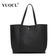YUOCL Luxury Brand Women Shoulder Bag Soft Leather TopHandle Bags Ladies Tassel Tote Handbag High Quality Women's Handbags(China)