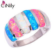 CiNily Created  White Blue Pink Fire Opal Silver Plated Ring Wholesale Retail Hot Sell For Women Jewelry Ring Size 6-11 OJ7883