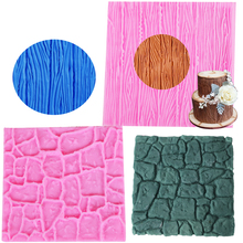 C117 2pcs/lot Dry Wall &Bark Formas De Silicone Mold Castle Stone Bark Cake Tools Fondant Cake Molds Cupcake Mould(China)