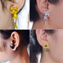 Fashion Summer Style Handmade Polymer Cartoon Animal Cat Dog Sunflower Squirrel Earring For Women Jewelry(China)