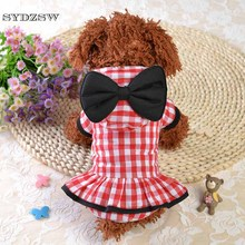 Lovely Pet Costume Small Dog Clothes Bowtie Plaid Princess Coats for Dogs Cats Blue Red Chihuahua Dress Dog Suit Pet Supplies