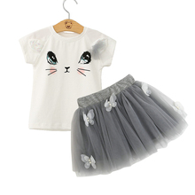 Baby Girls Clothing Sets 2017 Summer Cute Kitty Cat Print Tops Tutu Skirts Sets Gray Pink Kids Princess Wear For 3-7Yrs CS24