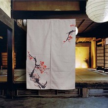 Chinese Traditional Ink and Wash Painting Plum Flower Room Divider Cotton Linen Blackout Door Curtain 85cm x 120cm rideaux(China)