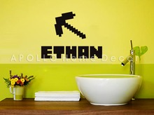 Customer-made Minecraft  Personalized Kids Name Removable Vinyl Wall Sticker Decor-You Choose Name and Color